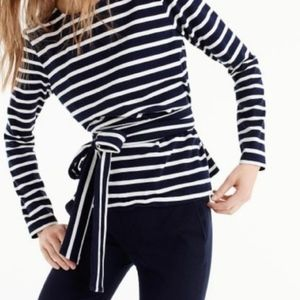 J.Crew Blouse Navy White Stripe Tie Sash
